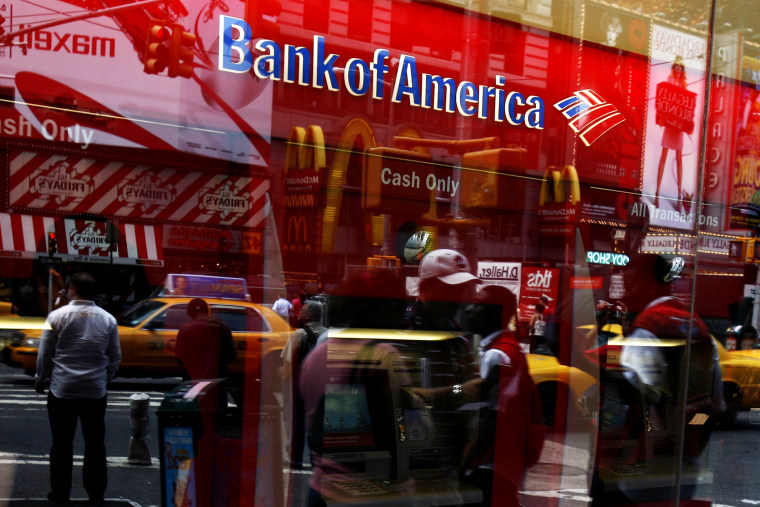 A Bank of America automatic teller machine is seen in New York