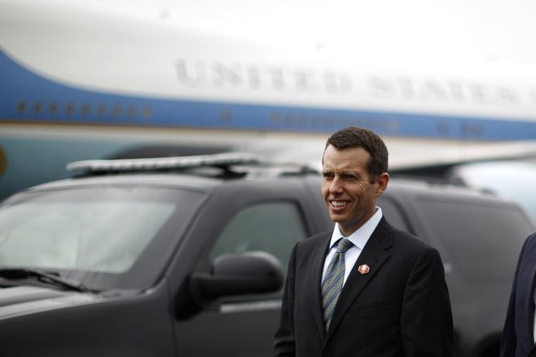 David Plouffe, former senior advisor to U.S. President Barack Obama arrives in Swanton, Ohio, September 26, 2012.