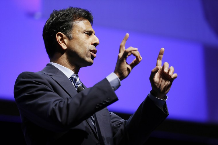 Louisiana Gov. Bobby Jindal speaks during The Family Leadership Summit, Aug. 9, 2014, in Ames, Iowa.