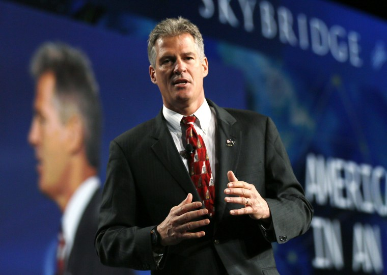 Image: Former U.S. senator Scott Brown speaks at the SALT conference in Las Vegas in this file photo