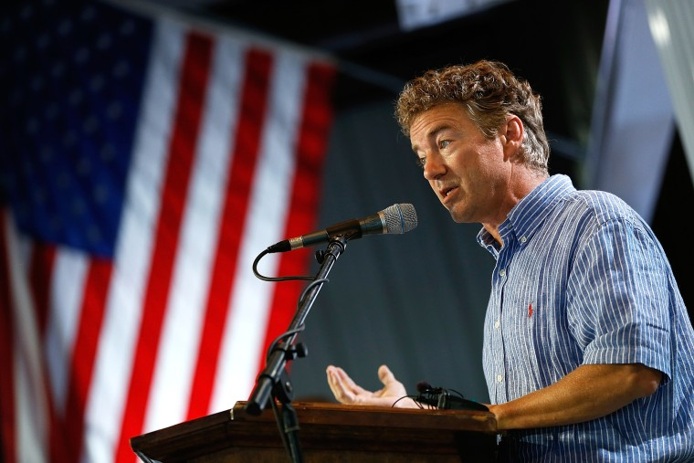 Sen. Rand Paul (R-Ky.) speaks at the Fancy Farm picnic Aug. 2, 2014 in Fancy Farm, Ky.