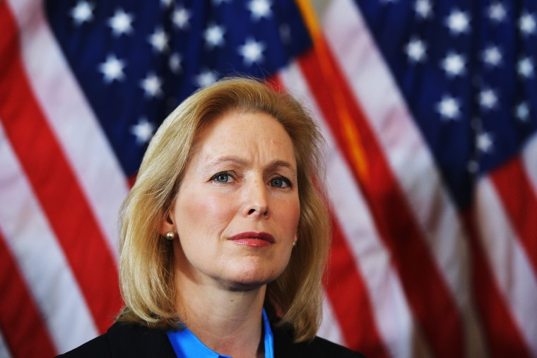Senator Kirsten Gillibrand, D-NY attends a press conference on Capitol Hill in Washington, Feb. 6, 2014.