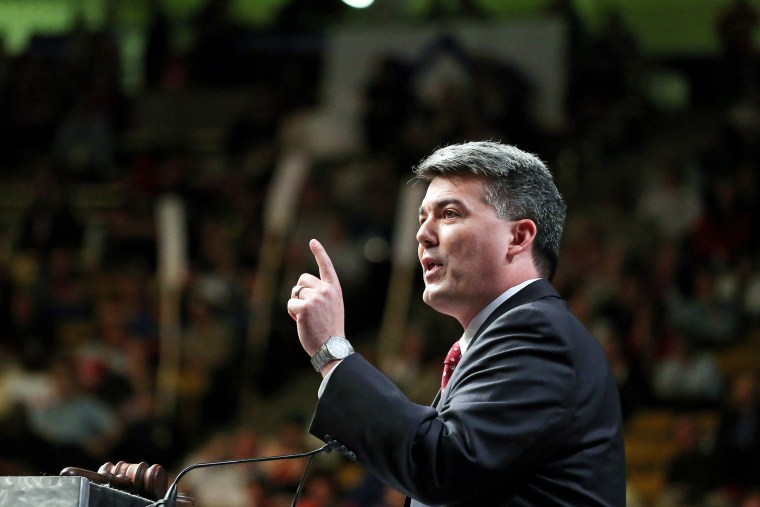 Rep. Cory Gardner delivers a speech to Republican delegates at the state GOP Congress, in Boulder, Colo., April 12, 2014.