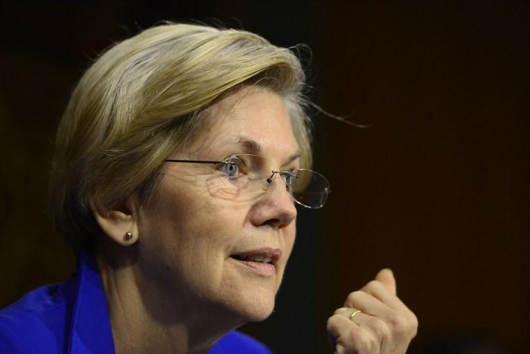 United States Senator Elizabeth Warren listens to testimony  on Capitol Hill in Washington, D.C. on July 15, 2014.