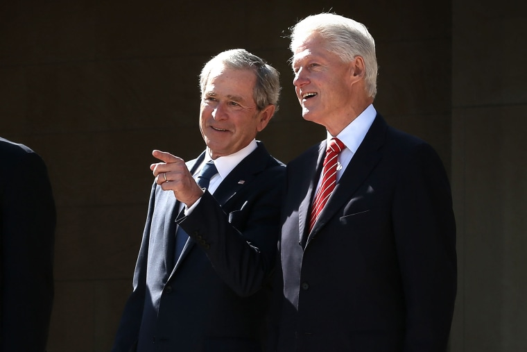 Former President George W. Bush and former President Bill Clinton attend the opening ceremony of the George W. Bush Presidential Center April 25, 2013 in Dallas, Texas.