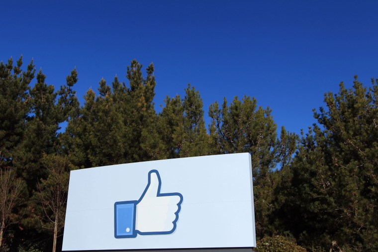 """A giant """"like"""" icon made popular by Facebook is seen at the company's new headquarters in Menlo Park, California."""