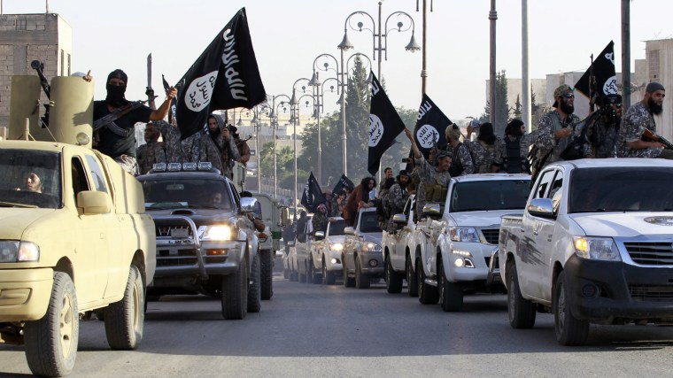 Militant Islamist fighters parade on military vehicles along the streets of northern Raqqa province June 30, 2014.