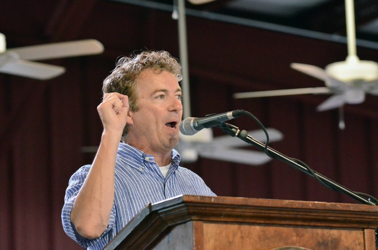 Sen. Rand Paul, R-Ky., speaks during the annual Fancy Farm picnic in Fancy Farm, Ky., Saturday, Aug. 2, 2014.