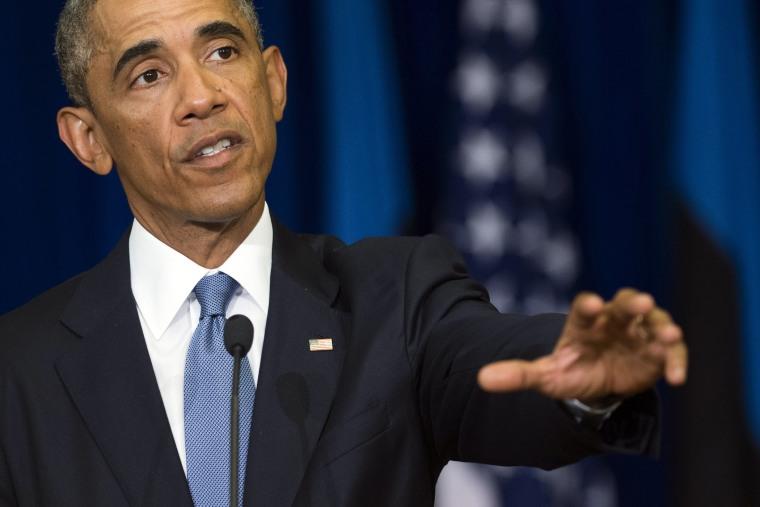 US President Barack Obama speaks during a press conference in Tallinn, Estonia, September 3, 2014.