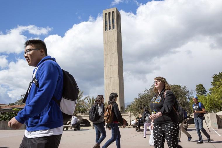 Students walk on campus at The University of California, Santa Barbara, April 2, 2014.
