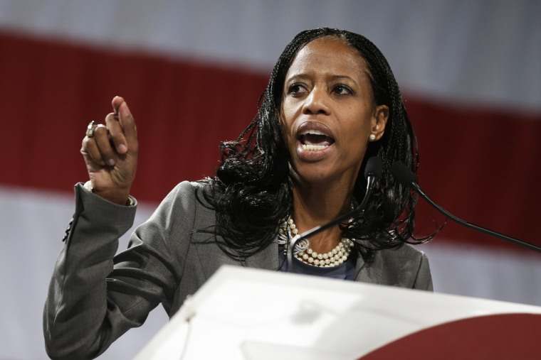 Republican congressional candidate Mia Love speaks during the Utah Republican Party nominating convention, April 26, 2014, in Sandy, Utah.