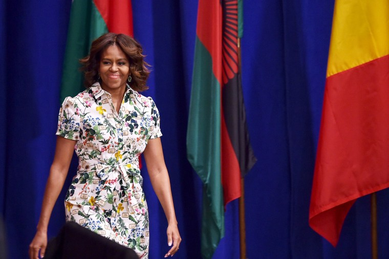 US First Lady Michelle Obama arrives to speak at the Washington Fellowship for Young African Leaders Presidential Summit on July 30, 2014.
