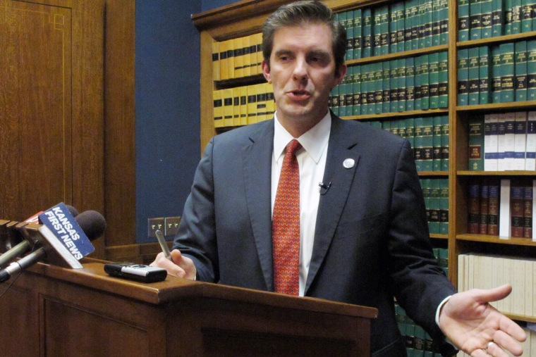 Shawnee County, Kan., District Attorney Chad Taylor speaks to reporters on Feb. 28, 2014, in Topeka, Kan.