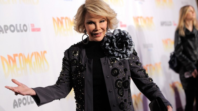"""Comedian and media personality Joan Rivers attends the opening night after party for \""""Dreamgirls\"""" at Riverside Church on Nov. 22, 2009 in New York City."""