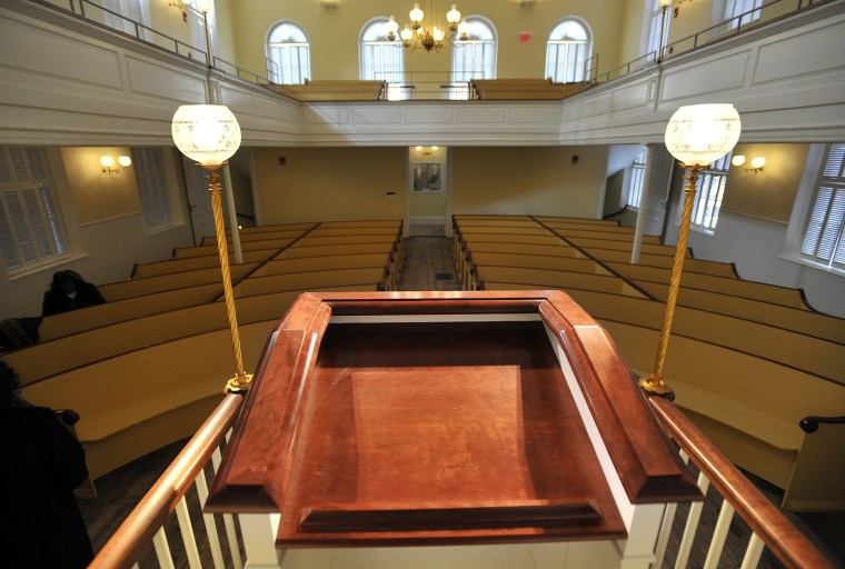 A view from the podium inside the African Meeting House in Boston.