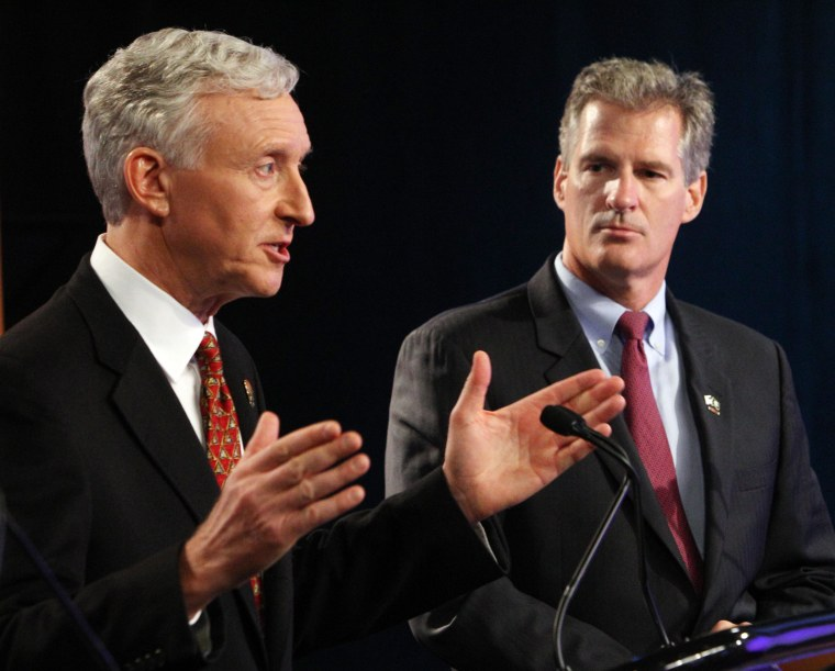 Former state Sen. Jim Rubens, left,  talks about his opponent former U.S. Sen. From Mass. Scott Brown during a televised debate, Thursday Sept. 4, 2014 at...