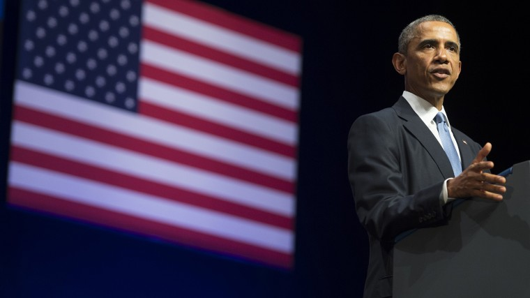 US President Barack Obama delivers a speech in Tallinn, Estonia, Sept. 3, 2014.
