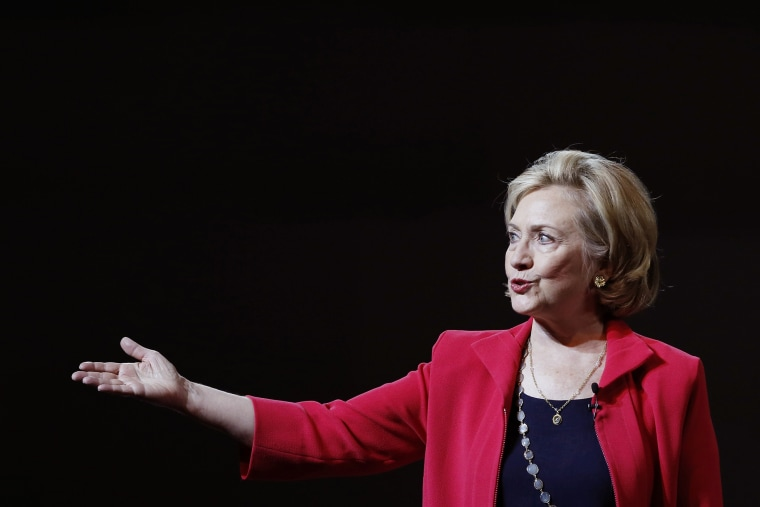 """Former U.S. Secretary of State Hillary Clinton gestures during a conference at the Seminar \""""Mexico Siglo XXI\"""" (Mexico XXI Century) organized by Telmex foundation, in Mexico City, Sept. 5, 2014."""