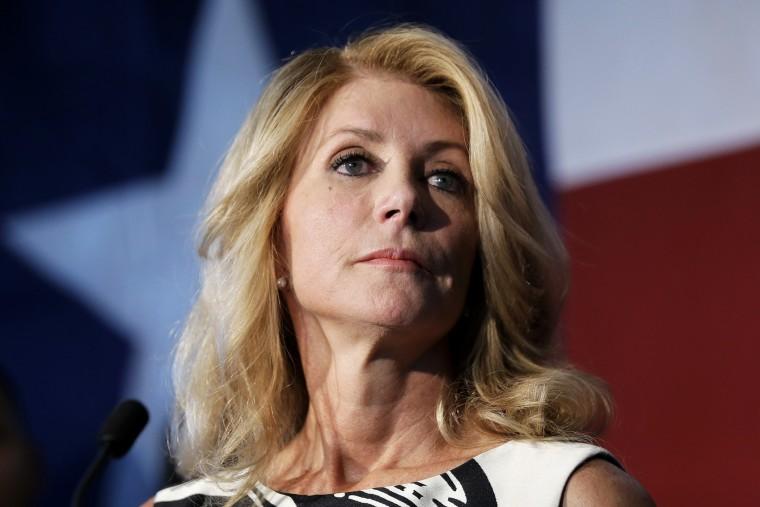 Texas Democratic gubernatorial candidate Wendy Davis speaks during a stop at Palo Alto College, Aug. 26, 2014, in San Antonio, Texas.