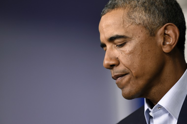 President Barack Obama speaks in the James Brady Press Briefing Room in the White House in Washington,D.C., Aug. 18, 2014.