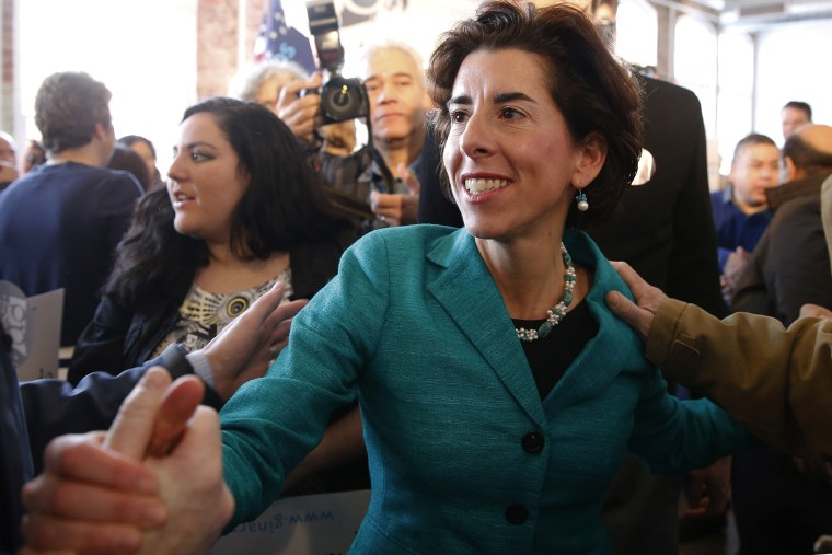 General Treasurer of Rhode Island Gina Raimondo greets supporters after announcing her run for the Democratic nomination for governor, Jan. 13, 2014, in Pawtucket, R.I.
