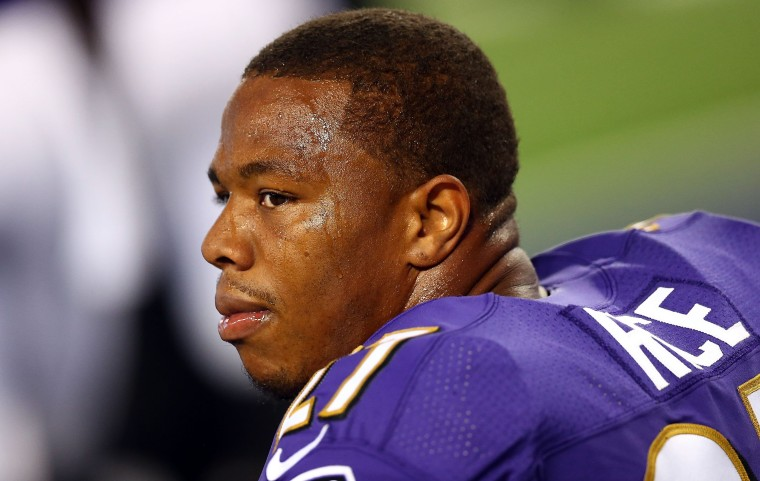 Ray Rice of the Baltimore Ravens sits on the bench against the Dallas Cowboys in the first half of their preseason game on August 16, 2014 in Arlington, Texas.