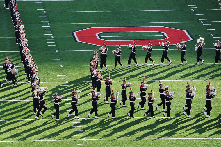 The Ohio State Marching Band performs.