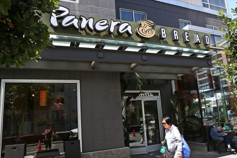 A pedestrian walks by a Panera Bread restaurant on June 3, 2014 in San Francisco, California.