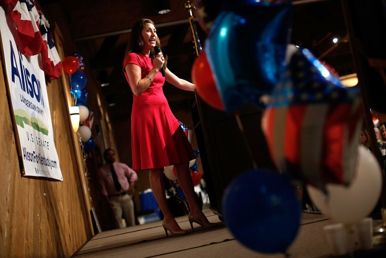 Kentucky's Democratic U.S. Senate nominee, and Kentucky Secretary of State, Alison Lundergan Grimes speaks at the Marshall County Democratic Bean Supper Aug. 1, 2014 in Gilbertsville, Ky.