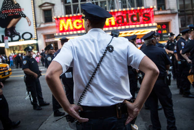 Police monitor a protest near Times Square on Sept. 4, 2014 in New York City.