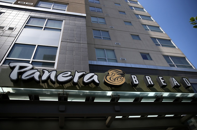 A sign is posted in front of a Panera Bread restaurant on June 3, 2014 in San Francisco, California.