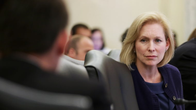 ]Sen. Kristen Gillibrand listens to testimony in the Russell Senate Office Building May 13, 2014 in Washington, DC.