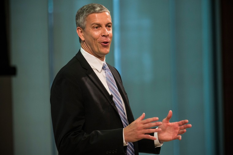 Arne Duncan, U.S. Secretary of Education, speaks at a press conference on June 16, 2014 in New York City.