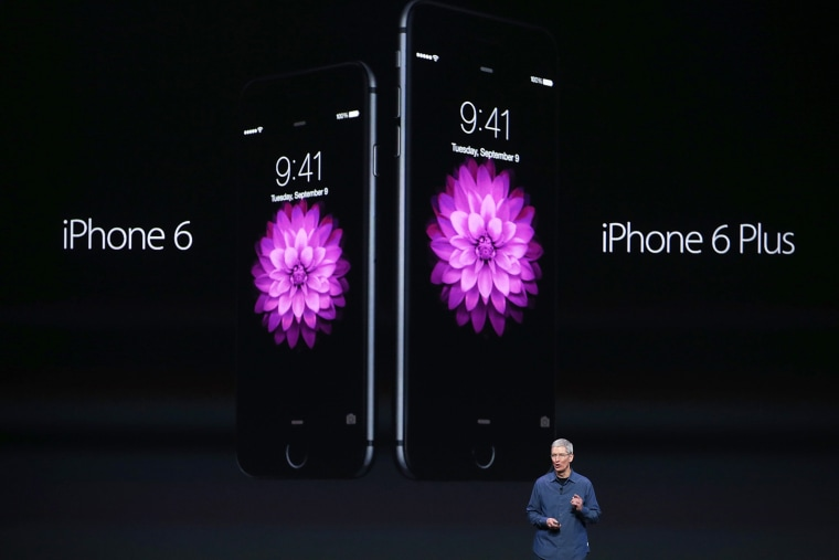 Apple CEO Tim Cook announces the iPhone 6 during an Apple special event at the Flint Center for the Performing Arts on September 9, 2014 in Cupertino, California.