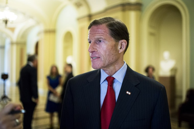 Sen. Richard Blumenthal, D-Conn., speaks with a reporter in the Capitol, July 22, 2014.