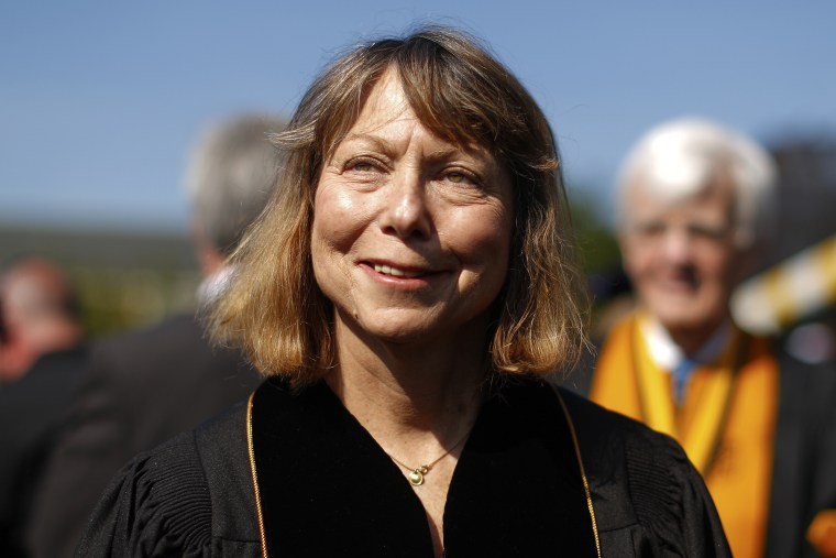 Jill Abramson, former executive editor at the New York Times walks in during commencement ceremonies for Wake Forest University on May 19, 2014 in Winston Salem, N.C.