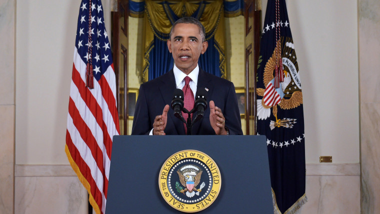 US President Barack delivers a prime time address from the Cross Hall of the White House on Sept. 10, 2014 in Washington, DC.