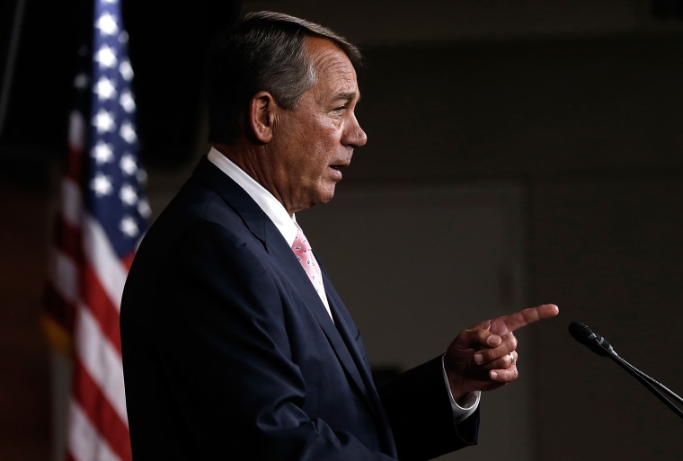 U.S. Speaker of the House John Boehner (R-OH) answers questions during a press conference at the U.S. Capitol on July 24, 2014 in Washington, DC.
