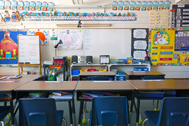 A grade school classroom.