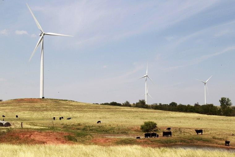 Windmills in Minco, Okla., in 2012.