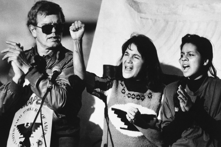 United Farm Workers leader Dolores Huerta (center) leads a rally on Nov. 19, 1988 as part of a national boycott of what the UFW claims is the dangerous use of pesticides.