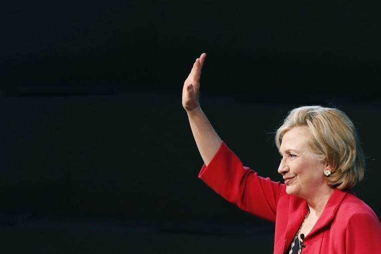 Former U.S. Secretary of State Hillary Clinton gestures during a conference in Mexico City, Mexico on Sept. 5, 2014.