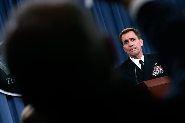 Pentagon Press Secretary Rear Adm. John Kirby answers questions at the Pentagon on Sept. 2, 2014 in Arlington, Va. Photo by Win McNamee/Getty