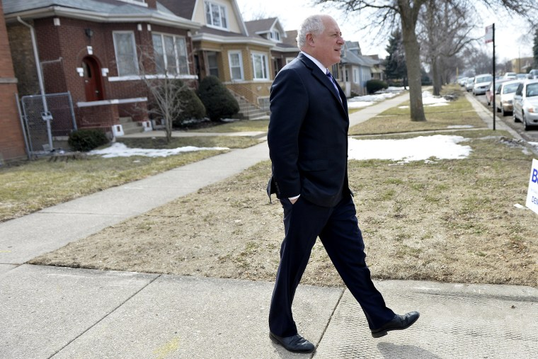 Illinois Governor Pat Quinn walks home after voting in the state's primary election on March 18, 2014 in Chicago, Ill. (Brian Kersey/Getty)