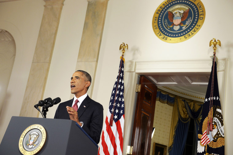 U.S. President Barack Obama delivers a live televised address to the nation on his plans for military action against the Islamic State, from the Cross Hall of the White House in Washington, D.C., Sept. 10, 2014.