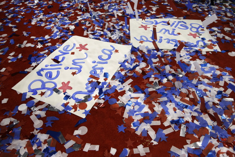 Signs left behind by delegates at the Republican National Convention in Tampa, Fla., Aug. 31, 2012. (Photo by Lynne Sladky/AP)
