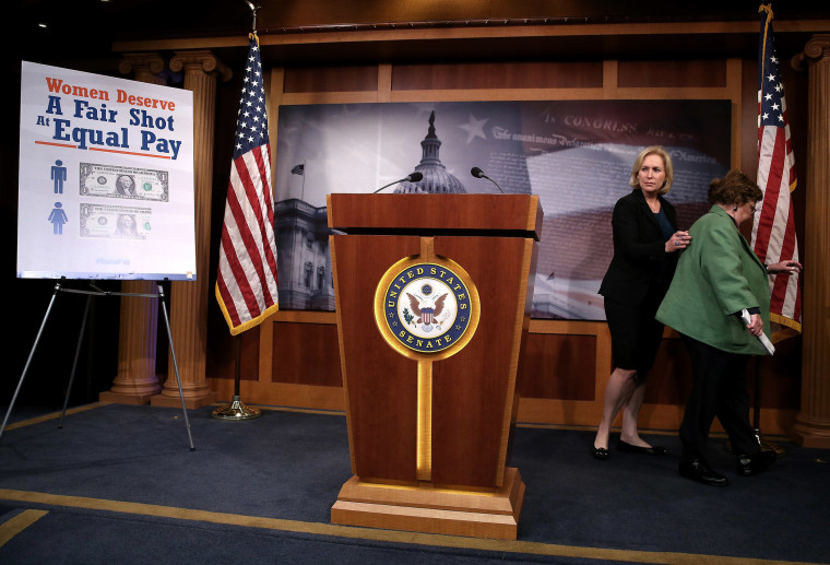 Senators Barbara Mikulski (D-MD) (R) and Kirsten Gillibrand (D-NY) walk away after a news conference on the Paycheck Fairness Act, at the US Capitol, on Sept. 10, 2014 in Washington, DC.
