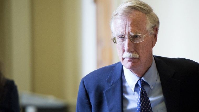 Sen. Angus King, I-Me., leaves the senate luncheons in the Capitol, September 9, 2014. Photo by Tom Williams/Getty.