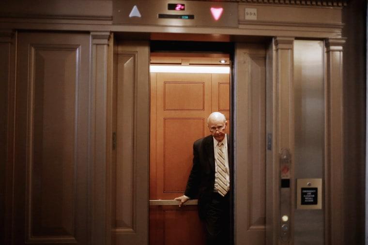 Sen. Pat Roberts (R-KS) takes an elevator at the U.S. Capitol on Nov. 5, 2013 in Washington, DC. (Chip Somodevilla/Getty)