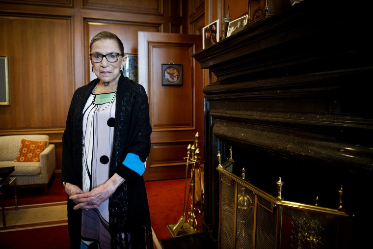 Associate Justice Ruth Bader Ginsburg in her Supreme Court chambers in Washington, on July 31, 2014.